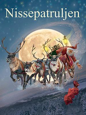 "Plakat for Eventyrteatrets julemusical ""Nissepatruljen"", Glassalen december 2019"